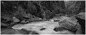 River flowing at bottom of narrows. Black Canyon of the Gunnison National Park (Panoramic black and white)