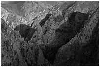 Canyon buttres from Tomichi Point. Black Canyon of the Gunnison National Park, Colorado, USA. (black and white)