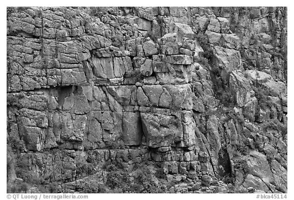 Fractured rock wall. Black Canyon of the Gunnison National Park (black and white)