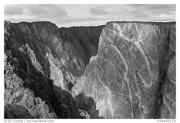 Painted wall from south rim. Black Canyon of the Gunnison National Park (black and white)