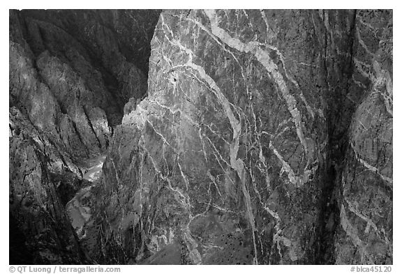 Wall with swirling veins of igneous pegmatite. Black Canyon of the Gunnison National Park (black and white)
