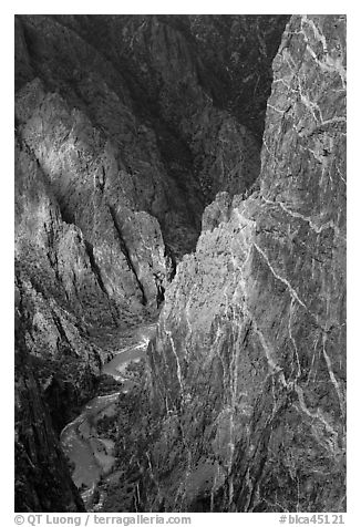 Hard gneiss and schist walls. Black Canyon of the Gunnison National Park (black and white)