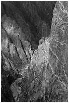 Hard gneiss and schist walls. Black Canyon of the Gunnison National Park, Colorado, USA. (black and white)