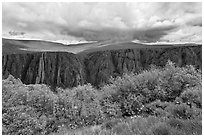 Canyon and storm clouds, Gunnison Point. Black Canyon of the Gunnison National Park, Colorado, USA. (black and white)
