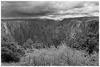 Approaching storm, Tomichi Point. Black Canyon of the Gunnison National Park, Colorado, USA. (black and white)