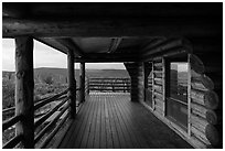 Visitor center porch. Black Canyon of the Gunnison National Park, Colorado, USA. (black and white)
