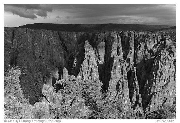 Approaching storm from Gunnison point. Black Canyon of the Gunnison National Park (black and white)