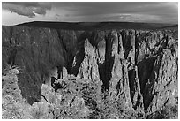 Approaching storm from Gunnison point. Black Canyon of the Gunnison National Park ( black and white)
