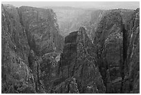 Storm light over canyon. Black Canyon of the Gunnison National Park ( black and white)