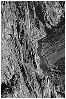 Cliffs and river in autumn. Black Canyon of the Gunnison National Park ( black and white)