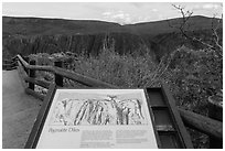 Interpretative sign. Black Canyon of the Gunnison National Park, Colorado, USA. (black and white)