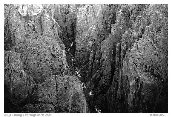 Deep and narrow gorge seen from Chasm view. Black Canyon of the Gunnison National Park (black and white)