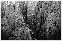 Deep and narrow gorge seen from Chasm view. Black Canyon of the Gunnison National Park, Colorado, USA. (black and white)