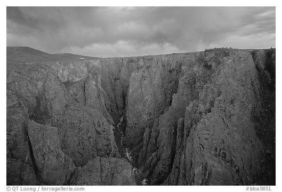The Narrows seen from Chasm view at sunset. Black Canyon of the Gunnison National Park (black and white)