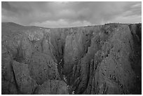 The Narrows seen from Chasm view at sunset. Black Canyon of the Gunnison National Park, Colorado, USA. (black and white)