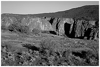 Plateau and gorge. Black Canyon of the Gunnison National Park, Colorado, USA. (black and white)