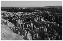 Silent City in Bryce Amphitheater from Bryce Point, sunrise. Bryce Canyon National Park, Utah, USA. (black and white)