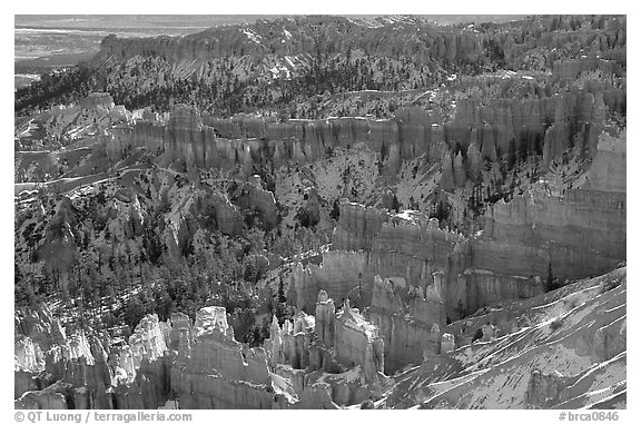 Hoodoos and blue snow from Inspiration Point. Bryce Canyon National Park (black and white)