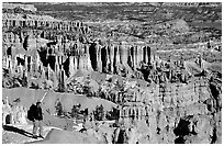 Hiker with panoramic view on Navajo Trail. Bryce Canyon National Park, Utah, USA. (black and white)
