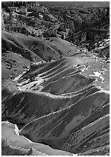 Hill ridges and snow in Bryce Amphitheatre. Bryce Canyon National Park, Utah, USA. (black and white)