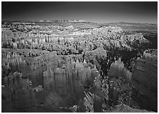 View of Bryce Amphitheater hoodoos from Sunset Point at dusk. Bryce Canyon National Park, Utah, USA. (black and white)