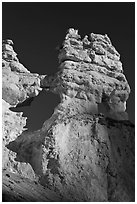 Openings through hoodoos. Bryce Canyon National Park, Utah, USA. (black and white)