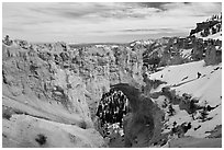 Natural arch in winter. Bryce Canyon National Park, Utah, USA. (black and white)