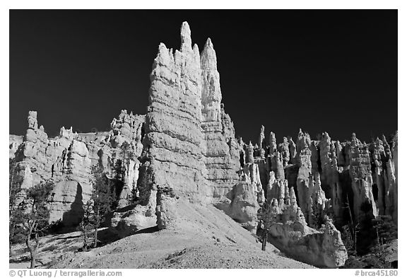 Hoodoos seen from the base. Bryce Canyon National Park (black and white)