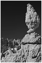 Balanced rock in pink limestone. Bryce Canyon National Park, Utah, USA. (black and white)