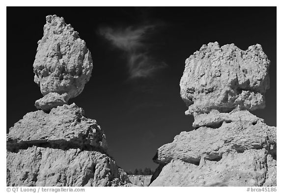 Lumpy and bulging profiles of hooodos. Bryce Canyon National Park (black and white)