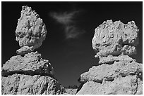 Lumpy and bulging profiles of hooodos. Bryce Canyon National Park, Utah, USA. (black and white)