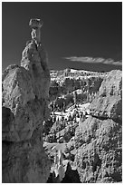 Hoodoos capped by dolomite rocks and amphitheater. Bryce Canyon National Park, Utah, USA. (black and white)