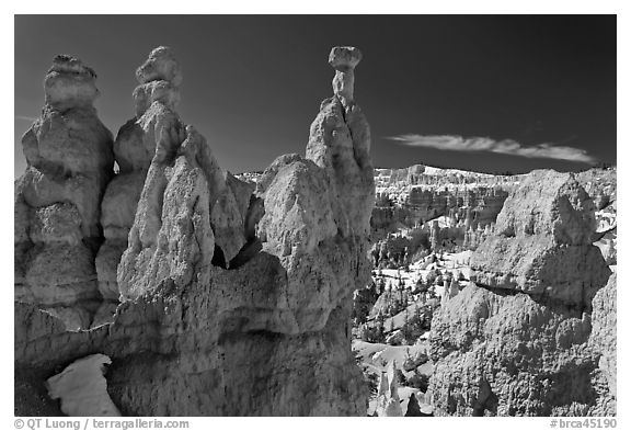 Capped hoodoos and amphitheatre. Bryce Canyon National Park (black and white)