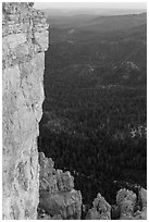 Cliffs near Yovimpa Point. Bryce Canyon National Park, Utah, USA. (black and white)