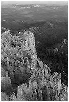 Rock formations and forest near Yovimpa Point. Bryce Canyon National Park, Utah, USA. (black and white)