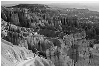 Park visitor looking from Navajo trail. Bryce Canyon National Park, Utah, USA. (black and white)