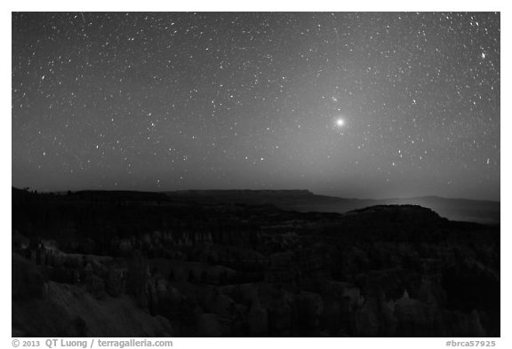 Bryce Amphitheater under starry sky at night. Bryce Canyon National Park (black and white)