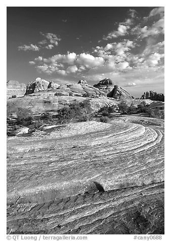 Sandstone swirls near Elephant Hill, the Needles, late afternoon. Canyonlands National Park (black and white)