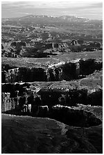 Monument basin from Grand View Point, Island in the Sky, late afternoon. Canyonlands National Park, Utah, USA. (black and white)