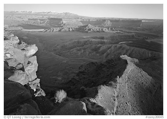 Dead Horse point at sunset. Canyonlands National Park (black and white)