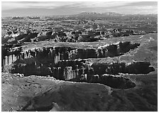 Maze of interlocked canyons from Grand view point, Island in the sky. Canyonlands National Park, Utah, USA. (black and white)