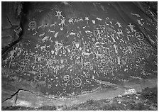 Slab called Newspaper Rock covered with petroglyphs. Utah, USA ( black and white)