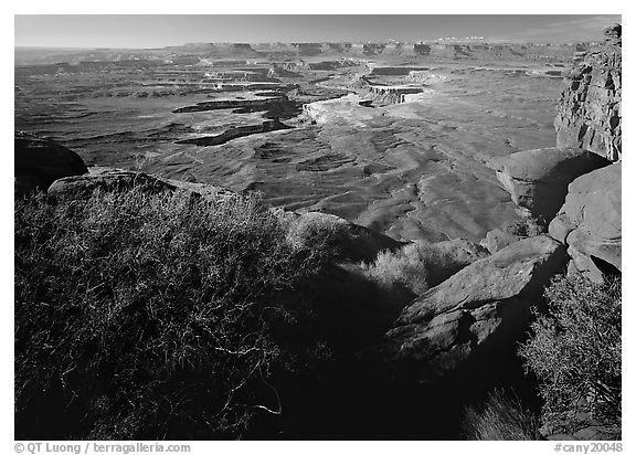 Green river overlook and Henry mountains, Island in the sky. Canyonlands National Park (black and white)