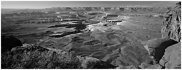 Canyon scenery, Island in the Sky. Canyonlands National Park (Panoramic black and white)