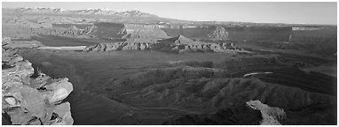 Canyon landscape at sunset, Dead Horse Point. Canyonlands National Park (Panoramic black and white)