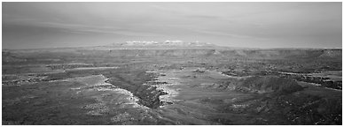 Canyon gorge and mountains in pastel colors, Island in the Sky. Canyonlands National Park (Panoramic black and white)