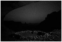 Ruin in a cave at night. Canyonlands National Park, Utah, USA. (black and white)