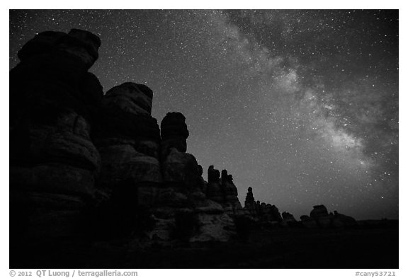 Dollhouse towers and Milky Way, Maze District. Canyonlands National Park (black and white)