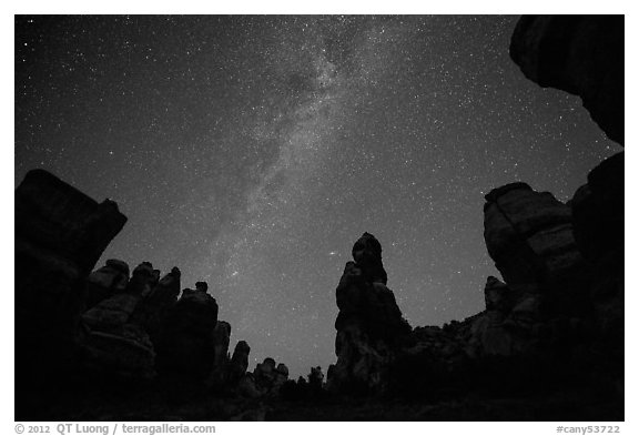 Dollhouse pinnacles and Milky Way, Maze District. Canyonlands National Park (black and white)