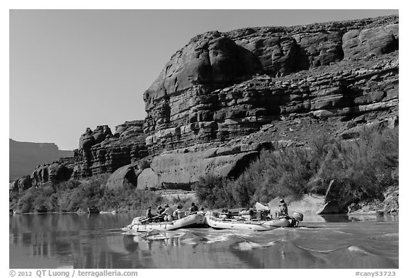 Rafts motoring upstream Colorado River. Canyonlands National Park (black and white)
